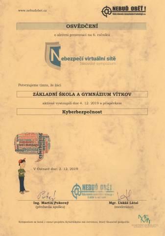 Žákovské sympozium - nebezpečí virtuální sítě