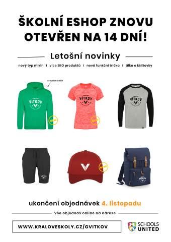 Nabídka školní kolekce oblečení ve dnech 20. 10. - 4. 11. 2021